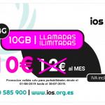 IOS ofrece 10GB y llamadas ilimitadas por 10€ para siempre hasta 30 de Julio de 2019.