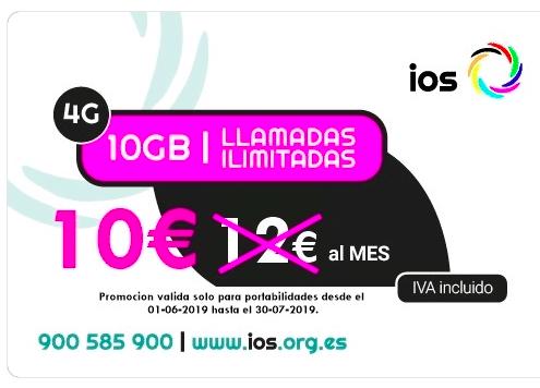 IOS PROMOCIONA 10GB ilimitada en voz por 10€