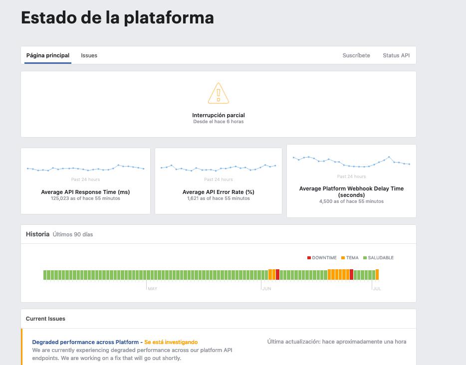 Api Facebook Caído 6 horas