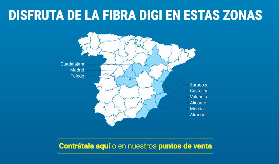 DIGI añade Alicante y Murcia en fibra