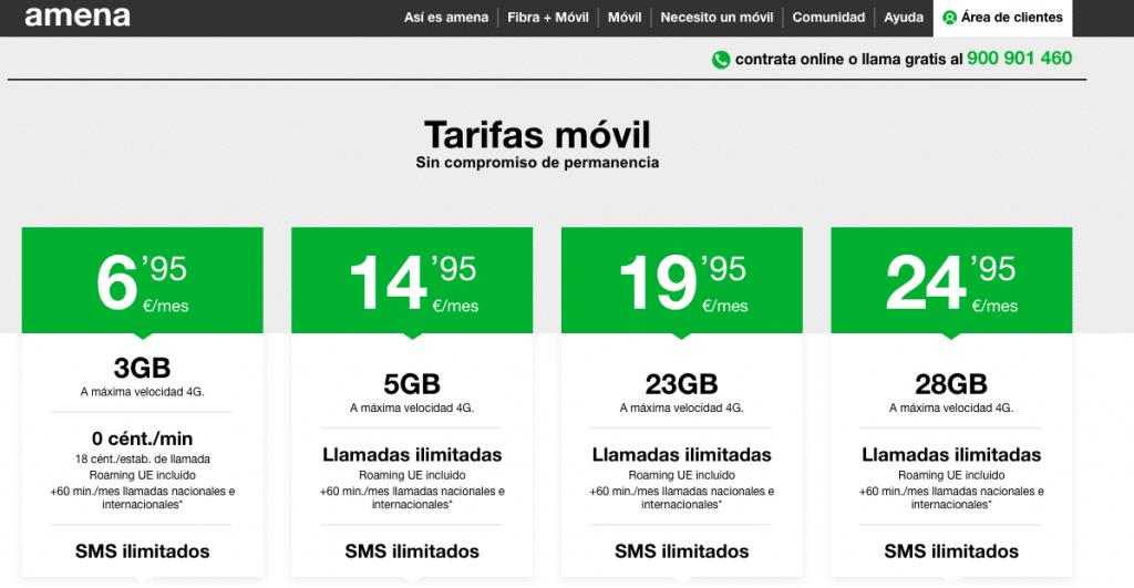 Las tarifas de AMENA tras el verano 2019