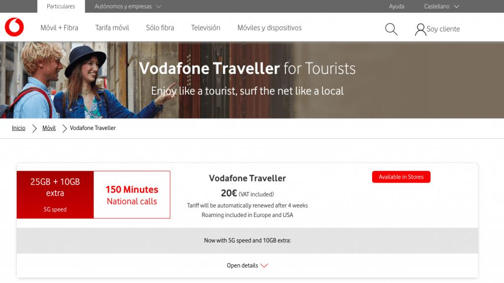 La tarifa de VODAFONE para turistas con 25GB y red 5G por 20€