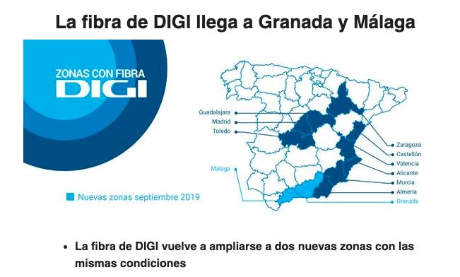 DIGI añade fibra en Malaga y Granada