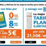 Blau: Tarifa plana a Internet 1GB sin cobrar más por 21,50€+IVA. La primera en prepago del mercado y realizado por una OMV. Tras el 1GB consumido 32KB de velocidad limitada, algo escaso.