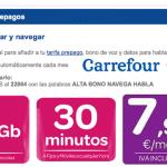 Carrefour mejora su tarifa prepago con 1GB y 30 minutos por 7,9€ al mes.