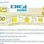 DIGIMOBIL mejora sus tarifas y saca un nuevo bono con 800 minutos y 2000 minutos entre DIGI por 15€ iva incluido en prepago.