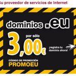¿Necesitas un dominio .EU? Si lo necesitas consiguelo por 3€+IVA.