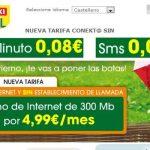 EROSKI saca una tarifa sin establecimiento de llamada de 8cts/min con Internet 300MB por 4,99€/mes cobrando exceso.
