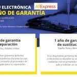 Aliexpress ofrece 1 año de garantía contratando el servicio.