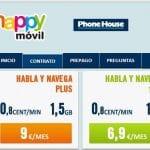 Happymovil mejora su oferta con 0,8cts/min y 1,5GB por 9€/mes. ¡Mejorando la competencia!