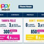 HAPPYMOVIL mejorará su tarifa FELIZ con 300MB/mes gratis con consumo mínimo 4,9€/mes con 2,9ct/min.