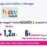 HAPPY MOVIL mejora sus tarifas prepago 6€ 1,2GB y 120 min +1GB por 10,5€