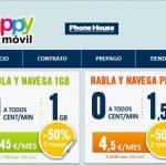 HAPPYMOVIL ofrece 3 meses con un 50% en sus tarifas de entre 3,5€ y 4,5€/mes en sus 0ct/min.
