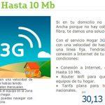 Hogar 3G sin limite de datos en Movistar con máximo 10MB de conexión.