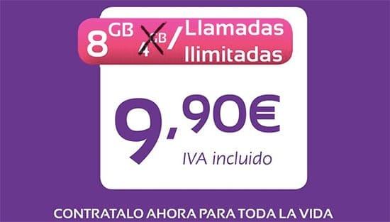 Jet promociona 8GB ilimitadas 10€ en verano