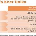 Knet mejora su tarifa Unica Convergente con 40€/mes con 500 min 500MB y 8MB de Internet.