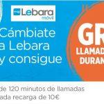 LEBARA ofrece 3 meses con 120 minutos al mes por recargar 10€/mes a clientes ORTEL MOBILE.