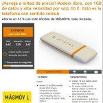 Masmovil permite adquirir un modem usb libre con 1GB de Internet con transporte incluido por 30€
