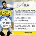 MASMOVIL ofrece 1GB a 6€/mes en su tarifa CERO si traemos un cliente o si nos venimos 2 juntos: DUO. ¡Interesante!
