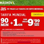 MASMOVIL ofrece una tarifa Mundial por 10€ con 90 minutos y 1GB incluso en prepago.
