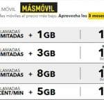 MASMOVIL ofrece sus ilimitadas con descuento 3 meses: 8GB <20€