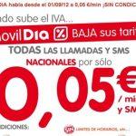 Movildia mejora su tarifa a 5c/min y 5c/sms para compensar la subida del IVA.