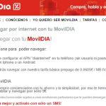 MOVILDIA añade internet a sus tarifas prepago a 6ct/MB o bonos de voz y datos nuevos.