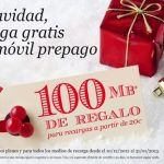 Eroski móvil regala estas navidades 100MB de Internet recargando 20€. Happymovil regala 500MB.