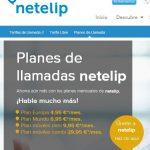 Netelip ofrece planes de llamadas a móviles con una linea fija desde 9,95€/mes con 600 minutos al mes.