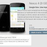 Google rebaja el coste de sus terminales Nexus 4 con 8GB por 199€ y 249€ con 16GB internas, Quad Core + 2GB + 4,7″.