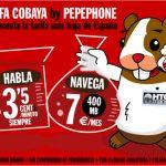 Pepephone ofrece la tarifa Cobaya 3,5c/min si eres visitante de HTCMania pagando 7€ al mes por 400MB de trafico.