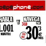 PEPEPHONE mejora su tarifa de 1001 minutos de 1GB a 3GB en 4G por 30,3€