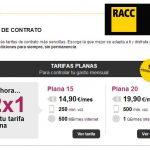 Racctel: Una promoción 2×1 en sus tarifas de 15€ y 20€ sin ser obligatorio ser socio de la compañia de seguros.