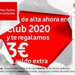 Vodafone regala 3€ de saldo si se da de alta el cliente en el servicio de publicidad 2020.