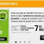 Spotify gratis 3 meses por ser cliente de Yoigo y suscripción premium a 7€ en vez de pagar los 9,99€ habituales.