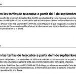 Telecable subirá también las tarifas: 1€ a 3€ más al mes en Septiembre.