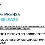 """TELEFÓNICA presenta """"Elegimos Todo"""", su plan estratégico de la compañía para los próximos años."""