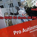 Vodafone apuesta con 4G hasta 60GB al mes a velocidades aceptables para autónomos/empresas.