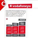 Vodafone mejorará su tarifa YU user en prepago por 10€ de 600MB a 800MB con 4G. ¡Muy tímida mejora!