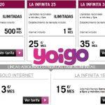 Yoigo revoluciona las tarifas ilimitadas con Internet desde 20€/mes y lineas adicionales ilimitadas desde 15€/mes.